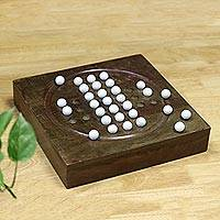 Wood solitaire game, 'Rainy Day Challenge' - Acacia Wood and White Glass Marble Solitaire Board Game