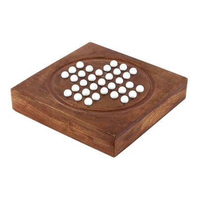 Acacia Wood and White Glass Marble Solitaire Board Game