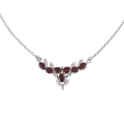 Rhodium Plated Garnet and Silver Pendant Necklace from India