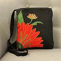 Cotton blend sling, 'Lovely Blossom' - Embroidered Floral Cotton Sling Handbag from India