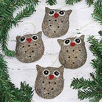 Wool ornaments, 'Midnight Quartet' (set of 4) - Set of Four Handcrafted Wool Owl Ornaments from India