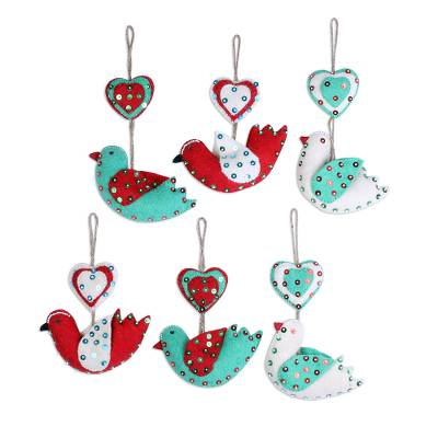 Wool felt ornaments, 'Love Messengers' (set of 6) - Heart and Bird-Shaped Wool Ornaments (Set of 6) from India