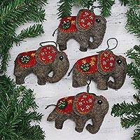 Wool ornaments, 'Elephant Saga' (set of 4) - Set of Four Handcrafted Wool Elephant Ornaments from India