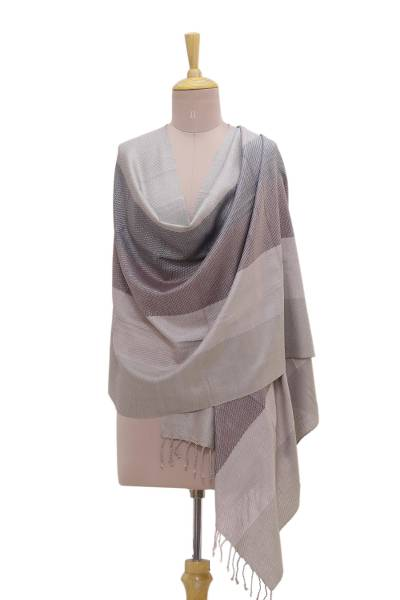 Silk shawl, 'Peaceful Harmony' - 100% Silk Neutral Striped Shawl with Fringe from India