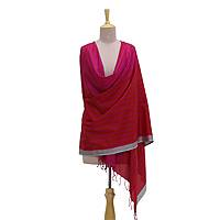 Silk shawl, 'Afternoon in Orissa' - Hand Woven Poppy Red and Magenta Striped Indian Silk Shawl