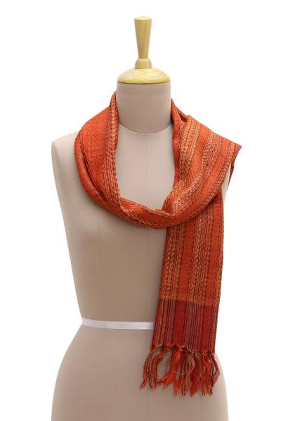 Silk scarf, 'Sienna Sunset' - Hand Woven Orange Patterned Silk Scarf from India