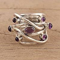 Amethyst cocktail ring, 'Intertwined Delight' - Multi-Stone Amethyst Cocktail Ring from India