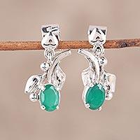 Rhodium plated onyx dangle earrings, 'Garden Greens' (India)