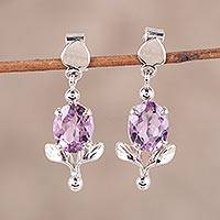 Rhodium plated amethyst dangle earrings, 'Lavender Shimmer' - Rhodium Plated Amethyst Dangle Earrings from India