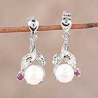 Rhodium plated cultured pearl and ruby dangle earrings,