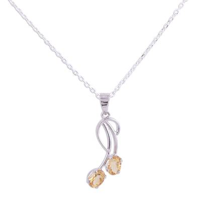 Citrine pendant necklace, 'Curve' - Citrine and Rhodium Plated Sterling Silver Pendant Necklace