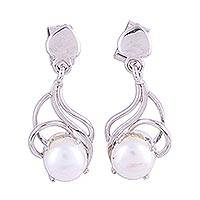 Rhodium plated cultured pearl dangle earrings, 'Graceful Purity' - Rhodium Plated Cultured Pearl Dangle Earrings from India