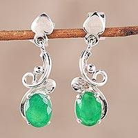 Onyx dangle earrings, 'Brilliant Vines' - Green Onyx Leafy Dangle Earrings from India