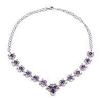 Rhodium plated amethyst link necklace, 'Purple Grandeur' (India)