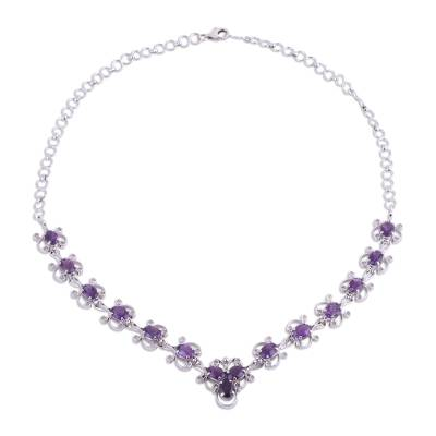 Rhodium Plated Amethyst Link Necklace from India