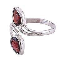 Rhodium plated garnet wrap ring, 'Red Teardrops' - Rhodium Plated Garnet and Silver Wrap Ring from India