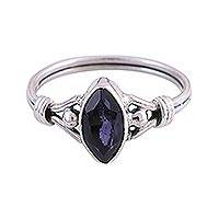 Rhodium plated iolite cocktail ring, 'Glorious Marquise' - Rhodium Plated Iolite and Silver Cocktail Ring from India