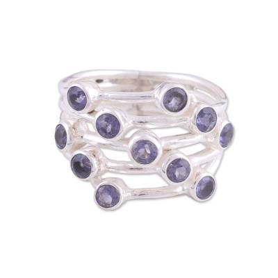Indian Multi-stone Iolite and Sterling Silver Cocktail Ring