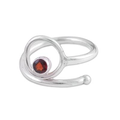 Garnet single stone ring, 'Solidarity' - Single Stone Sterling Silver Ring with Garnet from India