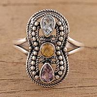 Multi-gemstone cocktail ring, 'Infinitude' - Artisan Crafted Multi-gemstone Sterling Silver Cocktail Ring