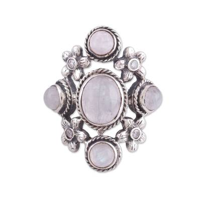 Indian Sterling Silver and Rainbow Moonstone Cocktail Ring