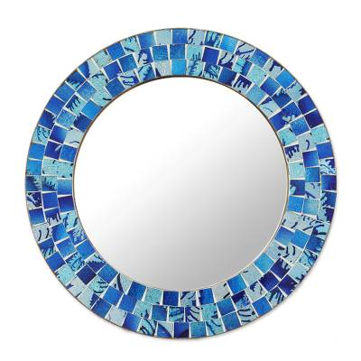 Glass Mosaic Round Wall Mirror from India