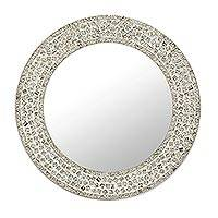 Glass mosaic wall mirror, 'Vintage Crystal' - Round Glass Mosaic Tile Wall Mirror from India