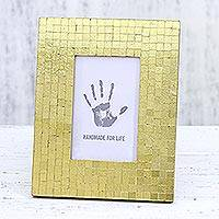 Glass mosaic photo frame, 'Golden Harmony' (4x6) - Hand Crafted Golden Glass Mosaic 4x6 Photo Frame from India