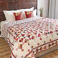 Cotton quilt, 'Floral Confetti' - Patchwork Cotton Quilt with Floral Motifs from India
