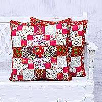 Cotton cushion covers, 'Patchwork Enchantment' (pair) - Pair of Handmade Patchwork Cushion Covers from India
