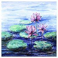 'Water Lilies I' - Watercolor Painting of Pink Waterlilies in a Blue Pond