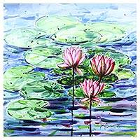 'Water Lilies II' - Original Lotus Blossom Watercolor Painting fro India