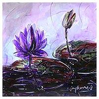 'Water Lilies III' - Signed Original Watercolor Painting of Purple Lotus Blossoms