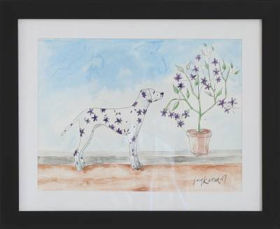 Modern Watercolor Painting of a Dog and Flowers from India