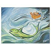 'Noah's Ark' - Expressionist Style Indian Fine Art Painting of Noah's Ark