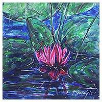 'Water Lilies IV' - Original Signed Watercolor Painting of Flowers from India