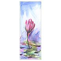 'Solitary Lily' - India Original Watercolor Floral Painting