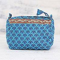 Cotton cosmetic bag, 'Flower Pool' - Handcrafted Cotton Cosmetic Bag in Cerulean from India