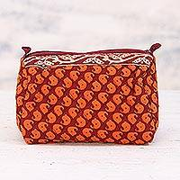 Cotton toiletry bag, 'Claret Paisleys' - Cotton Toiletry Bag with Paisley Motifs from India