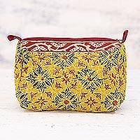 Cotton toiletry bag, 'Mustard Field' - Cotton Toiletry Bag with Mustard Flower Motifs from India