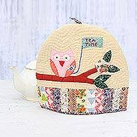 Quilted cotton tea cozy, 'Thirsty Owl' - Owl-Themed Quilted Cotton Tea Cozy from India