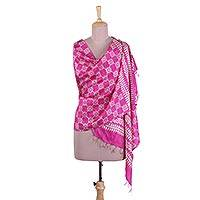 Silk shawl, 'Magenta Glam' - Block Printed Fringed Silk Shawl in Magenta from India