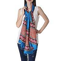 Silk shawl, 'Caribbean Blue Dazzle' - Block Printed Silk Shawl in Caribbean Blue from India