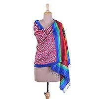 Silk shawl, 'Exciting Vine' - Block Printed Fringed Multicolored Silk Shawl from India