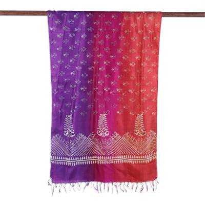 Silk shawl, 'Blossom Fade' - Block Printed Fringed Tri-Tone Silk Shawl from India