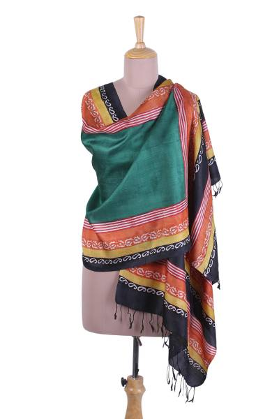 Silk shawl, 'Green Magnificence' - Block Printed Fringed Silk Shawl in Green from India