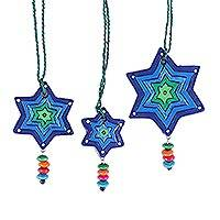 Ceramic ornaments, 'Starry Song' (set of 3) - Three Hand-Painted Colorful Star-Shaped Ornaments from India