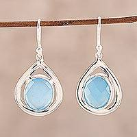 Chalcedony dangle earrings, 'Inland Sea' - Blue Chalcedony and Sterling Silver Dangle Earrings