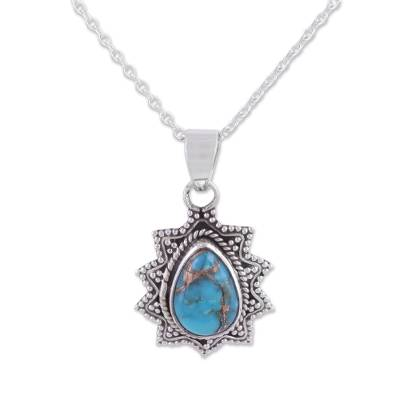 Sterling silver pendant necklace, 'Flicker of Blue' - Sterling Silver and Composite Turquoise Pendant Necklace
