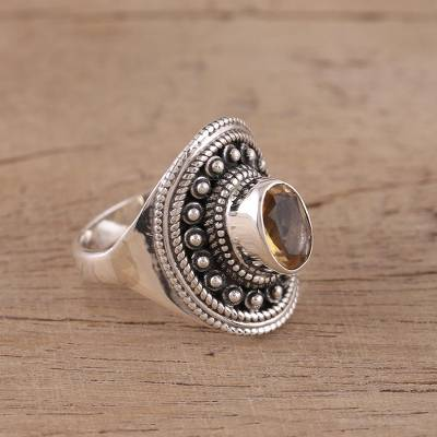 Oval Citrine and Sterling Silver Cocktail Ring from India